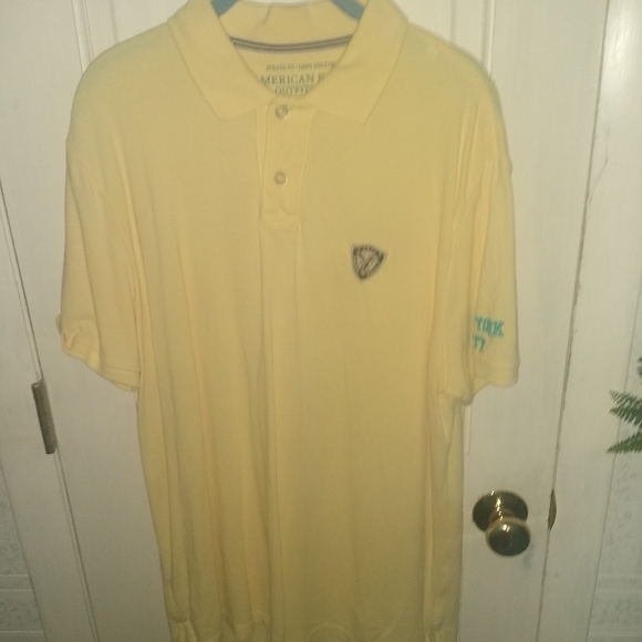 American Eagle Yellow Athletic Fit Logo Polo - L